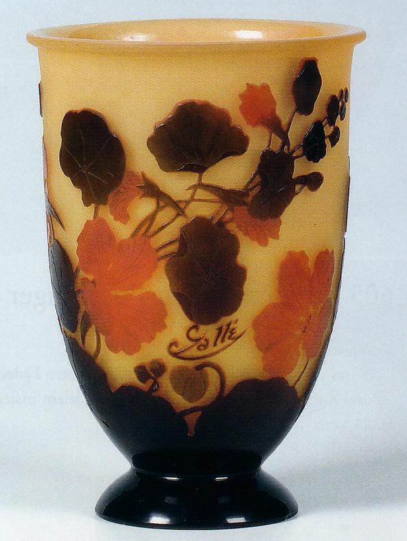 Emile gall vaso in vetro cameo lavorazione all 39 acido 1915 for Vaso galle