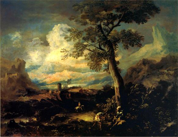 Lettura opera:Antonio Marini - Coppia di paesaggi con figure ...
